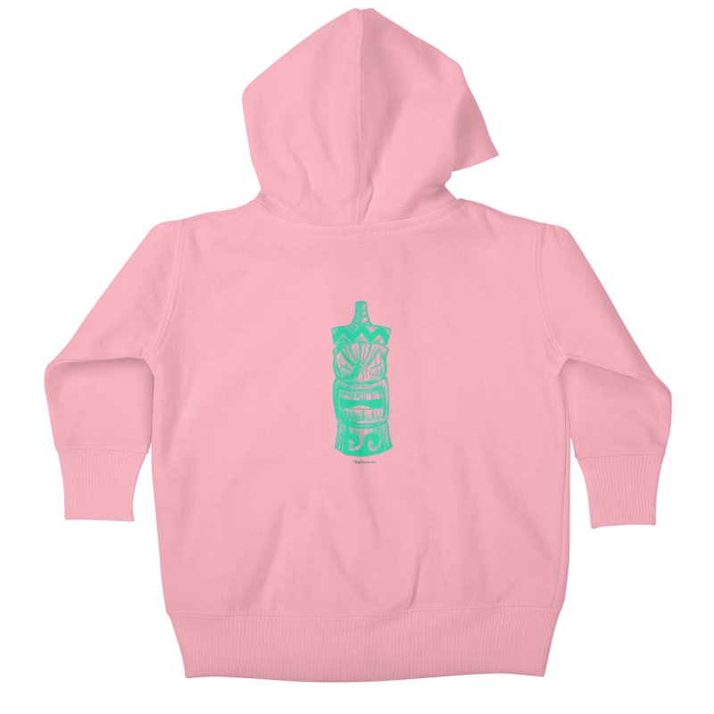 Teal Tiki Kids Baby Zip-Up Hoody by Magichammer Art By Russ Fagle Shop