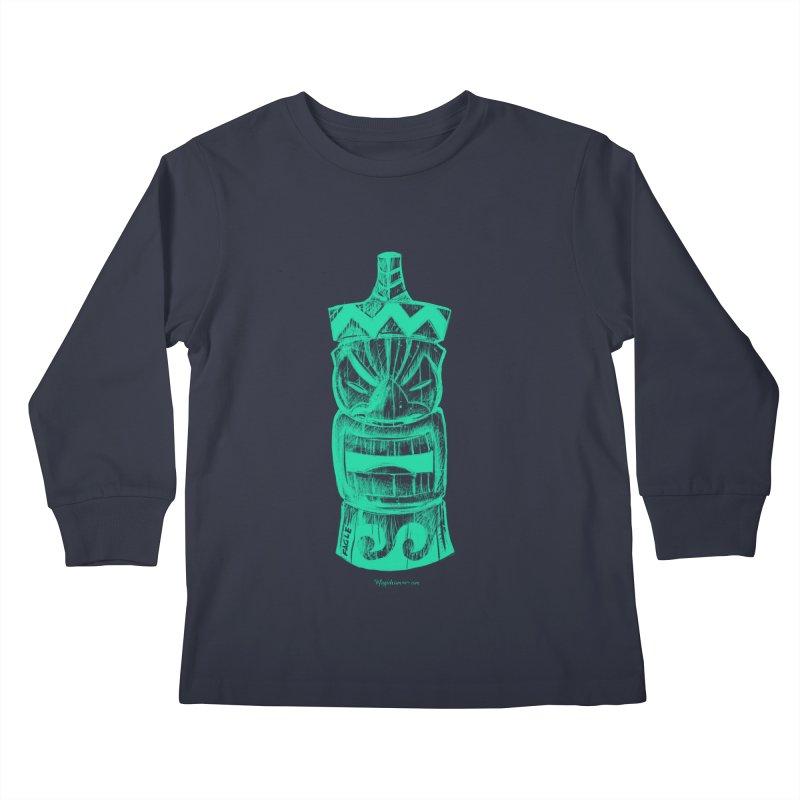 Teal Tiki Kids Longsleeve T-Shirt by Magichammer Art By Russ Fagle Shop