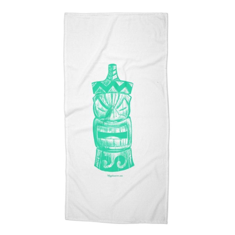 Teal Tiki Accessories Beach Towel by Magichammer Art By Russ Fagle Shop