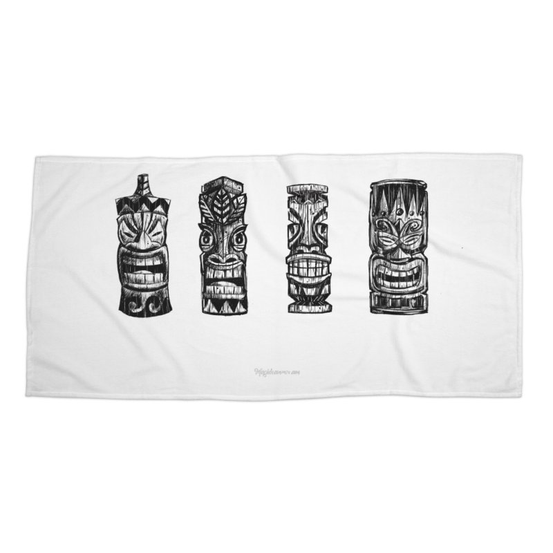 Four Tikis Accessories Beach Towel by Magichammer Art By Russ Fagle Shop