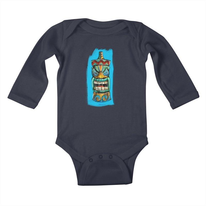 Ocean Wave Tiki Kids Baby Longsleeve Bodysuit by Magichammer Art By Russ Fagle Shop