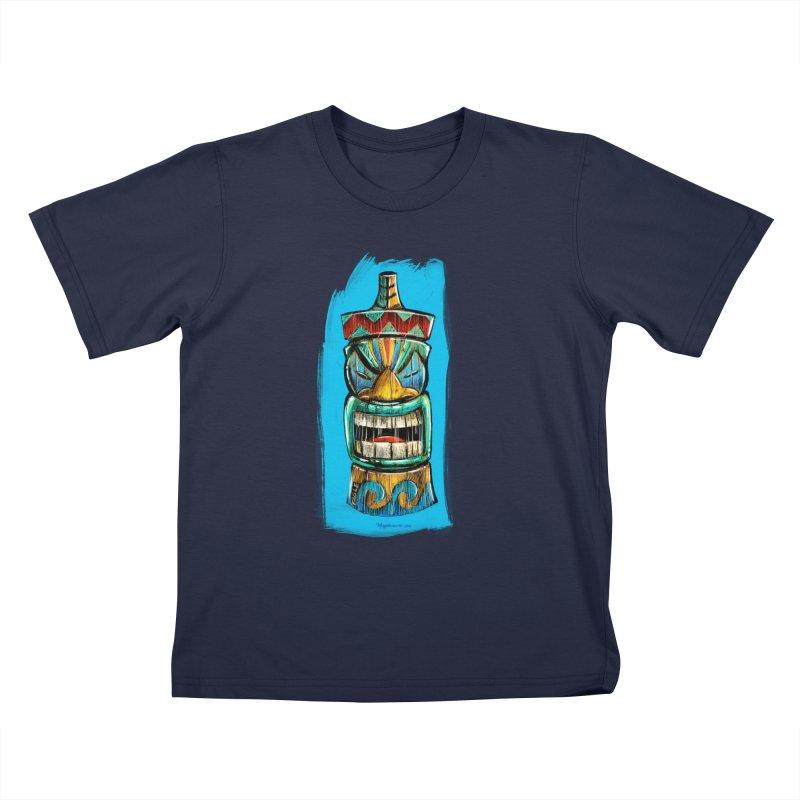Ocean Wave Tiki Kids T-Shirt by Magichammer Art By Russ Fagle Shop
