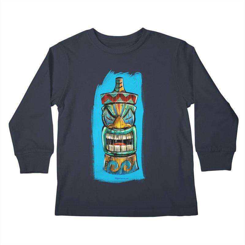 Ocean Wave Tiki Kids Longsleeve T-Shirt by Magichammer Art By Russ Fagle Shop