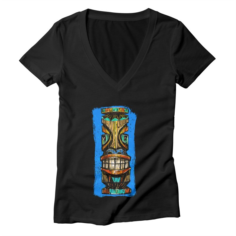 Teal Eye Tiki Women's V-Neck by Magichammer Art By Russ Fagle Shop
