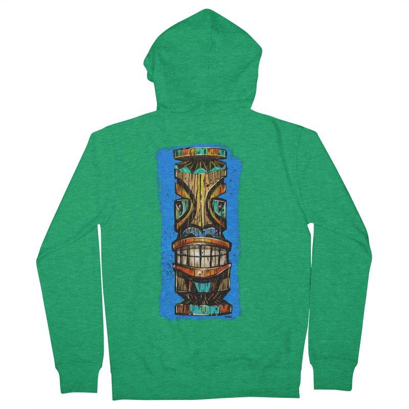 Teal Eye Tiki Men's Zip-Up Hoody by Magichammer Art By Russ Fagle Shop