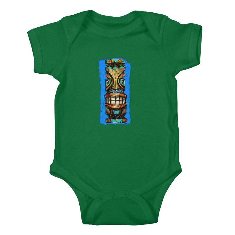 Teal Eye Tiki Kids Baby Bodysuit by Magichammer Art By Russ Fagle Shop