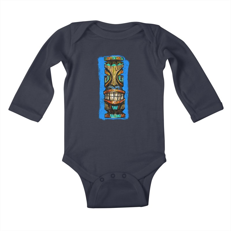 Teal Eye Tiki Kids Baby Longsleeve Bodysuit by Magichammer Art By Russ Fagle Shop