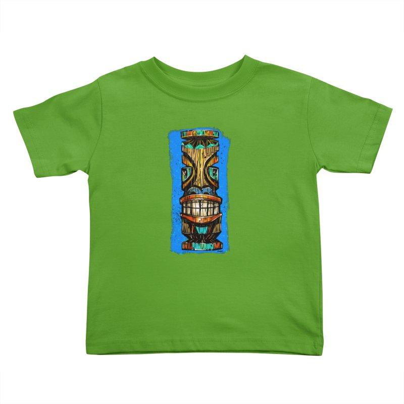 Teal Eye Tiki Kids Toddler T-Shirt by Magichammer Art By Russ Fagle Shop