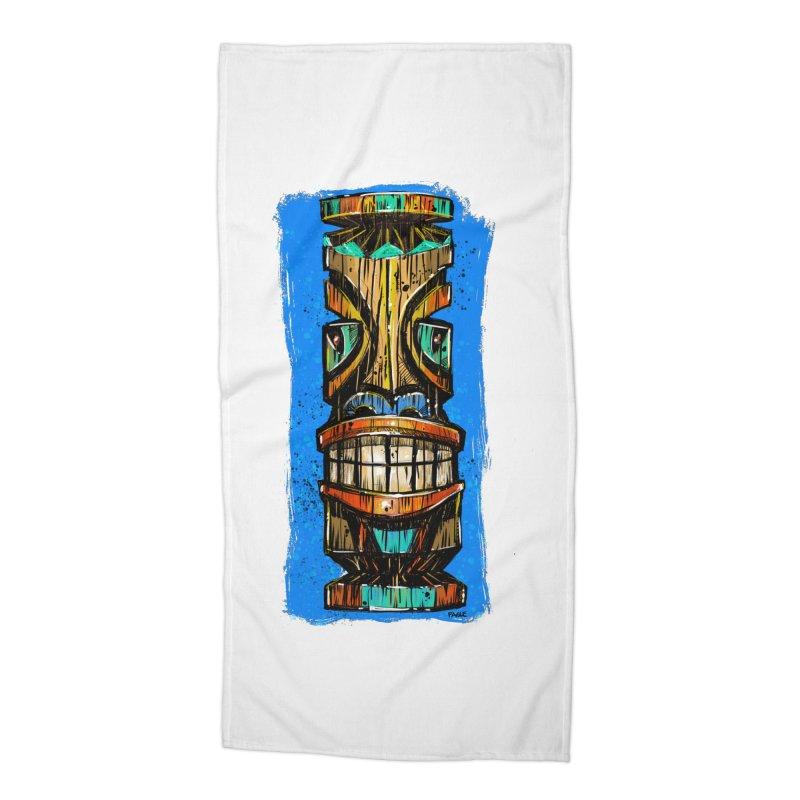 Teal Eye Tiki Accessories Beach Towel by Magichammer Art By Russ Fagle Shop