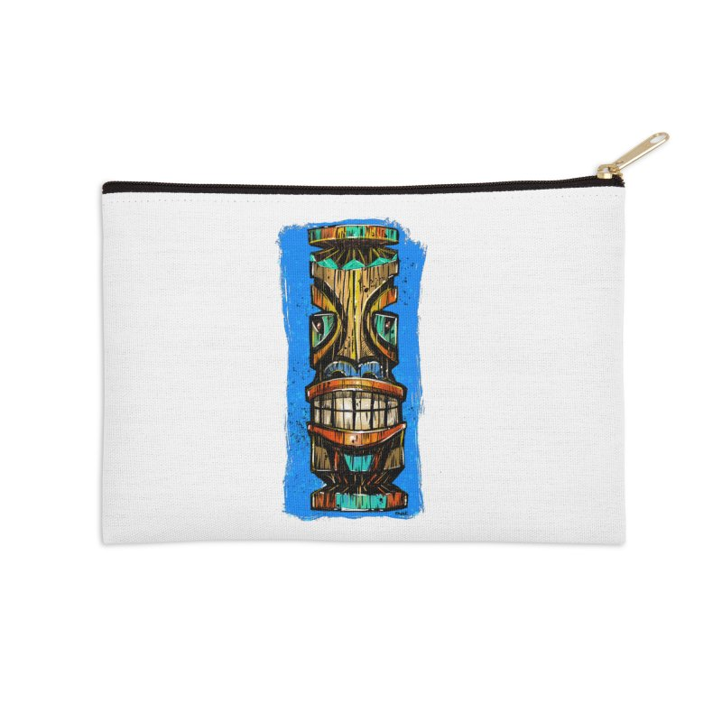 Teal Eye Tiki Accessories Zip Pouch by Magichammer Art By Russ Fagle Shop