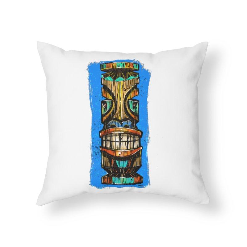 Teal Eye Tiki Home Throw Pillow by Magichammer Art By Russ Fagle Shop