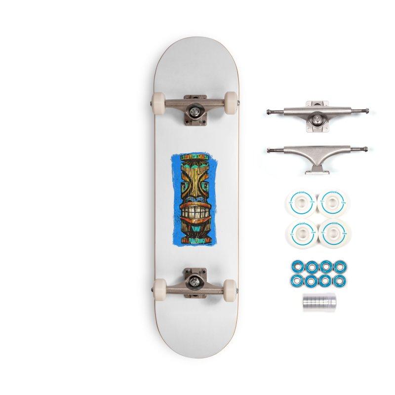 Teal Eye Tiki Accessories Skateboard by Magichammer Art By Russ Fagle Shop