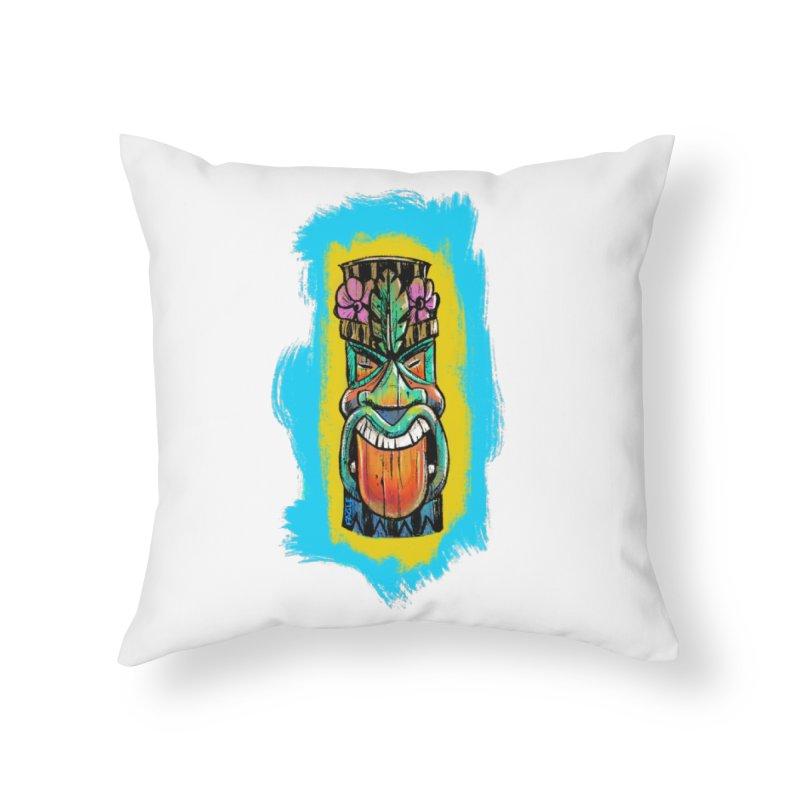 Tongue Tiki Home Throw Pillow by Magichammer Art By Russ Fagle Shop