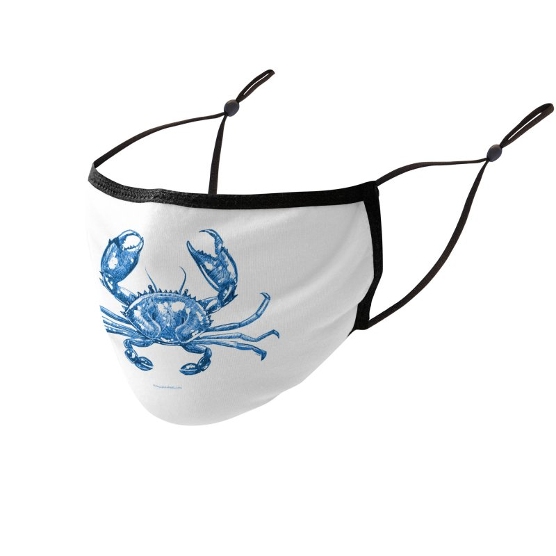 Blue Line Art Crab Accessories Face Mask by Magichammer Art By Russ Fagle Shop