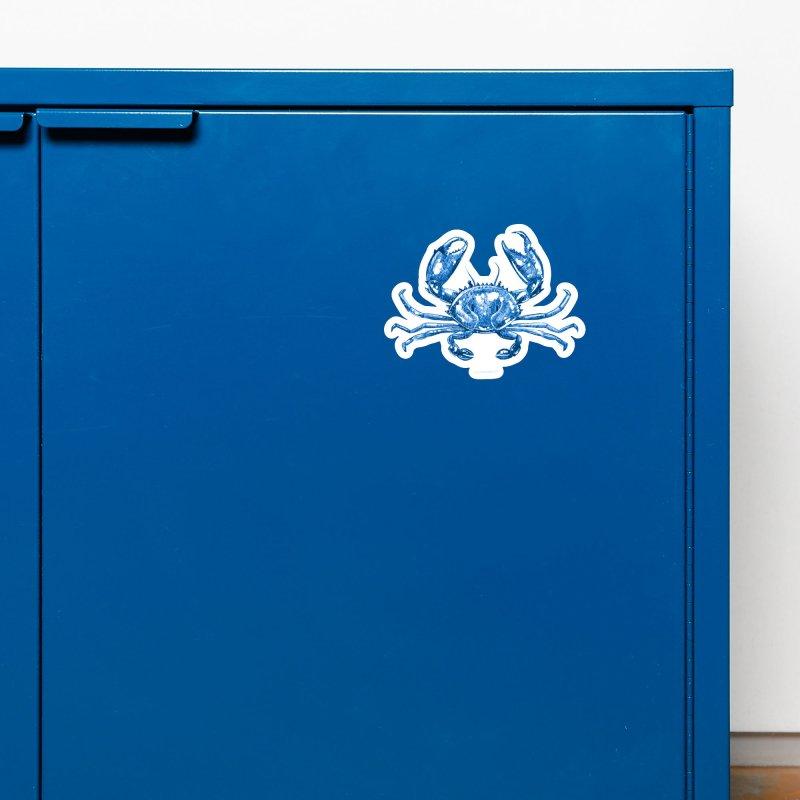 Blue Line Art Crab Accessories Magnet by Magichammer Art By Russ Fagle Shop