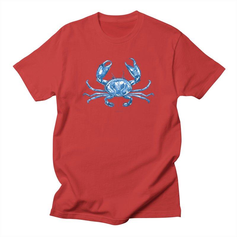 Blue Line Art Crab Women's T-Shirt by Magichammer Art By Russ Fagle Shop