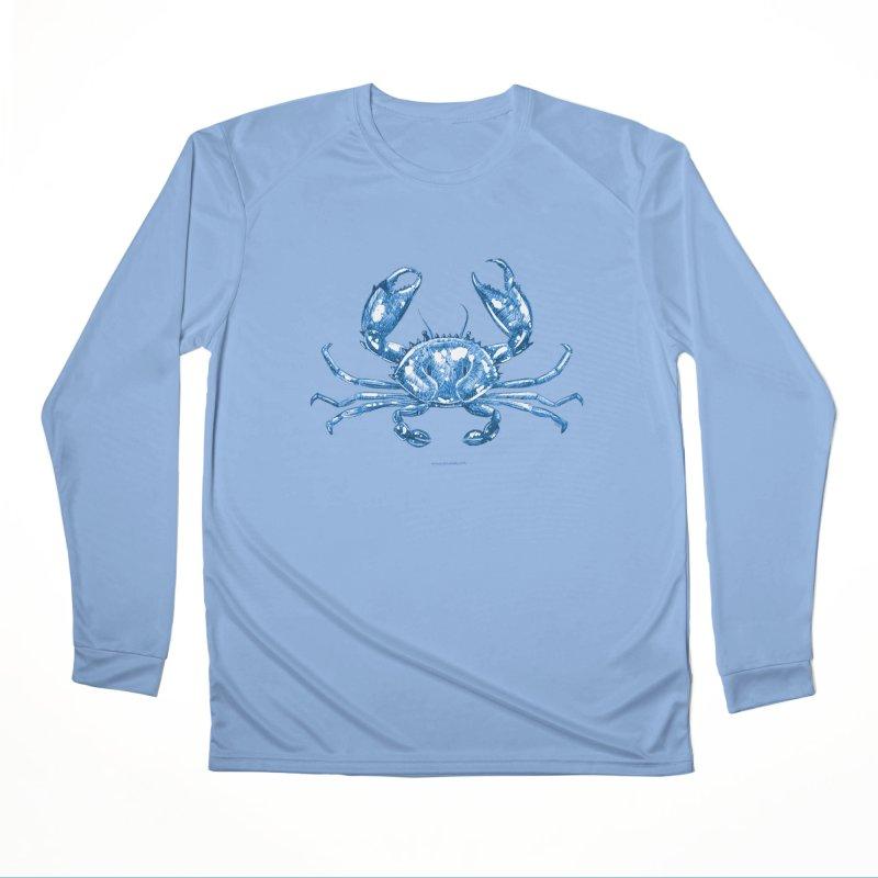 Blue Line Art Crab Women's Longsleeve T-Shirt by Magichammer Art By Russ Fagle Shop