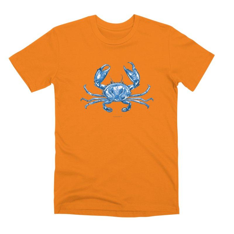 Blue Line Art Crab Men's T-Shirt by Magichammer Art By Russ Fagle Shop