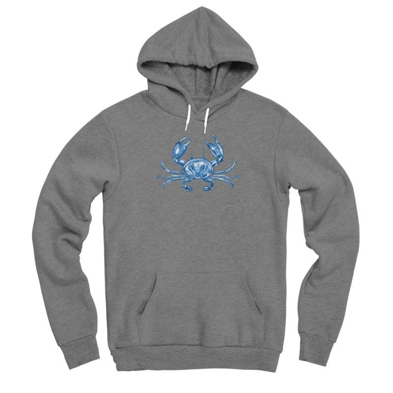 Blue Line Art Crab Men's Pullover Hoody by Magichammer Art By Russ Fagle Shop