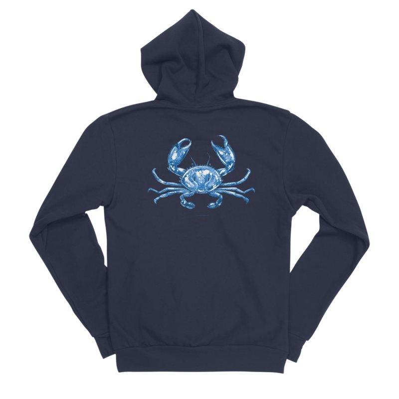 Blue Line Art Crab Men's Zip-Up Hoody by Magichammer Art By Russ Fagle Shop