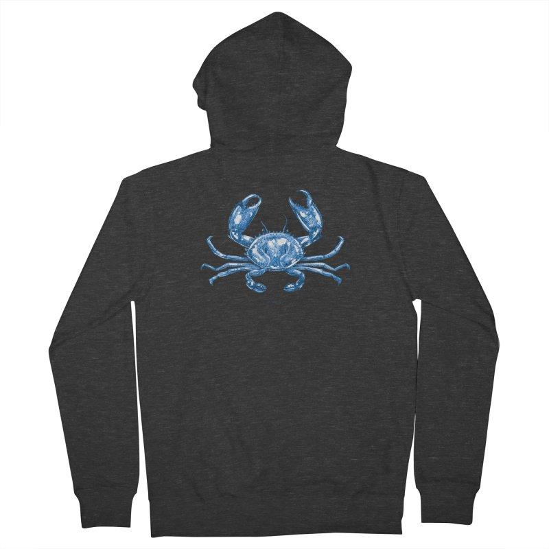 Blue Line Art Crab Women's Zip-Up Hoody by Magichammer Art By Russ Fagle Shop