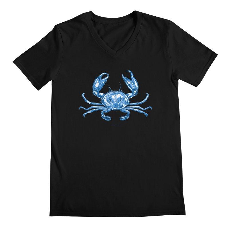 Blue Line Art Crab Men's V-Neck by Magichammer Art By Russ Fagle Shop