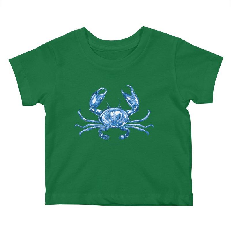 Blue Line Art Crab Kids Baby T-Shirt by Magichammer Art By Russ Fagle Shop