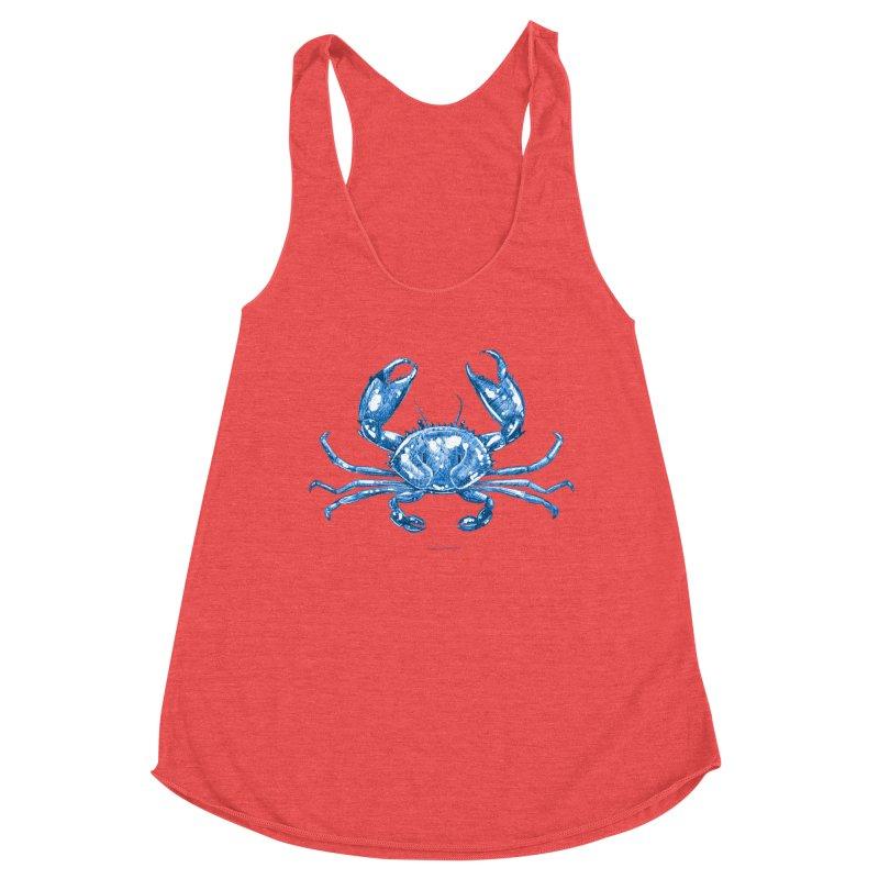 Blue Line Art Crab Women's Tank by Magichammer Art By Russ Fagle Shop