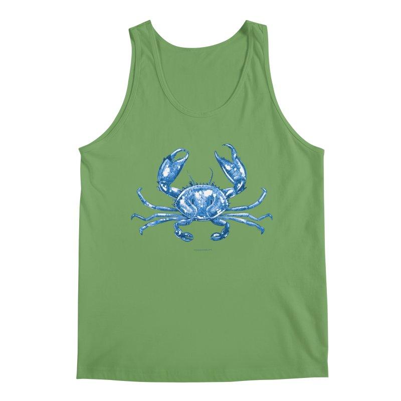 Blue Line Art Crab Men's Tank by Magichammer Art By Russ Fagle Shop