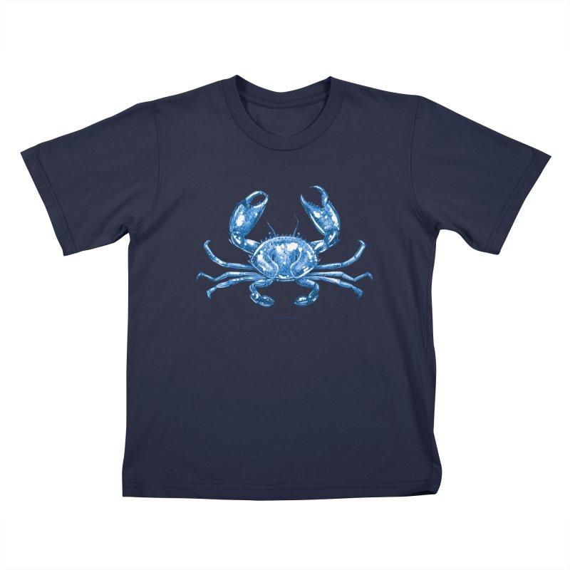 Blue Line Art Crab Kids T-Shirt by Magichammer Art By Russ Fagle Shop