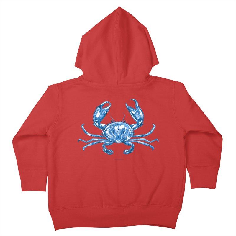 Blue Line Art Crab Kids Toddler Zip-Up Hoody by Magichammer Art By Russ Fagle Shop