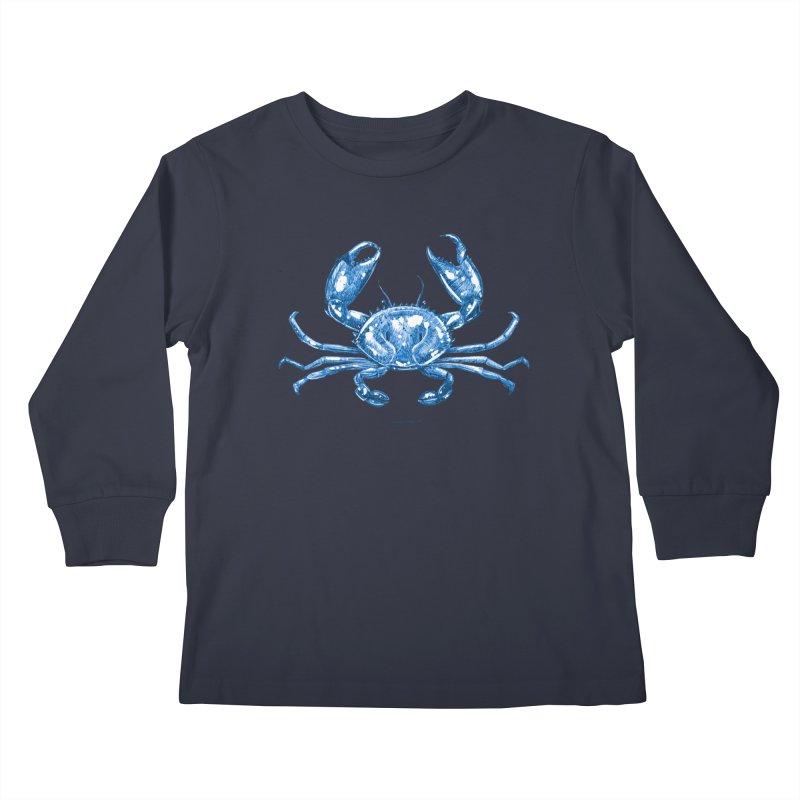Blue Line Art Crab Kids Longsleeve T-Shirt by Magichammer Art By Russ Fagle Shop