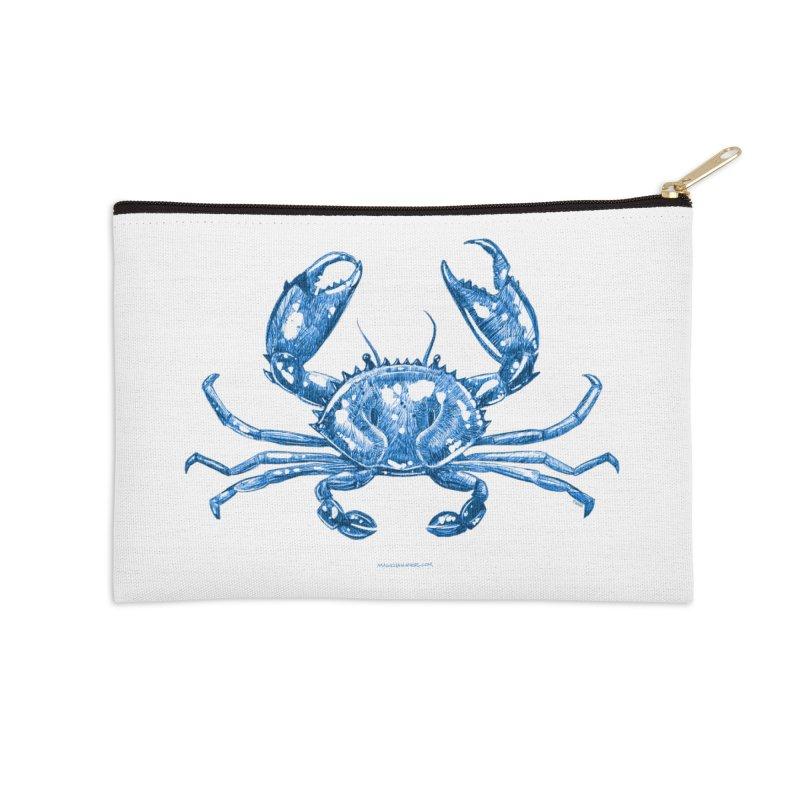 Blue Line Art Crab Accessories Zip Pouch by Magichammer Art By Russ Fagle Shop