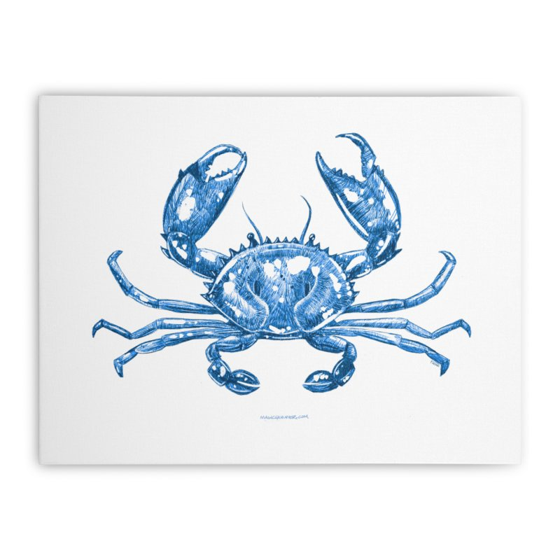 Blue Line Art Crab Home Stretched Canvas by Magichammer Art By Russ Fagle Shop
