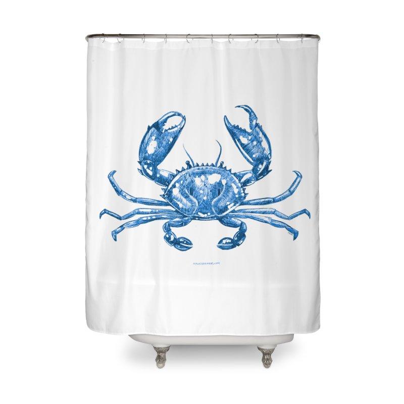 Blue Line Art Crab Home Shower Curtain by Magichammer Art By Russ Fagle Shop