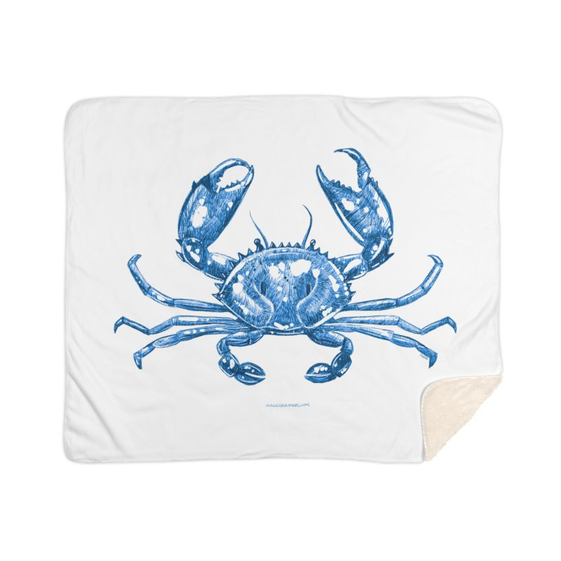 Blue Line Art Crab Home Blanket by Magichammer Art By Russ Fagle Shop