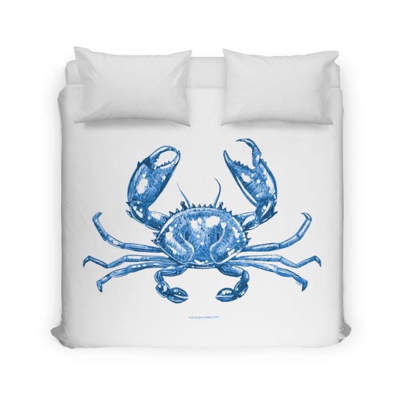 Blue Line Art Crab Home Duvet by Magichammer Art By Russ Fagle Shop