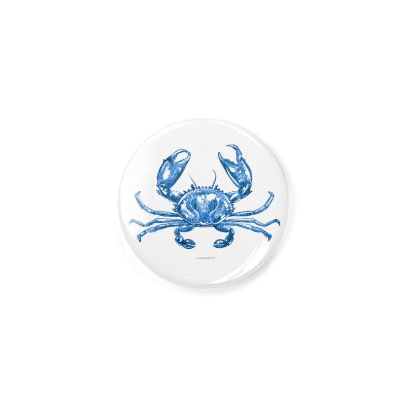 Blue Line Art Crab Accessories Button by Magichammer Art By Russ Fagle Shop