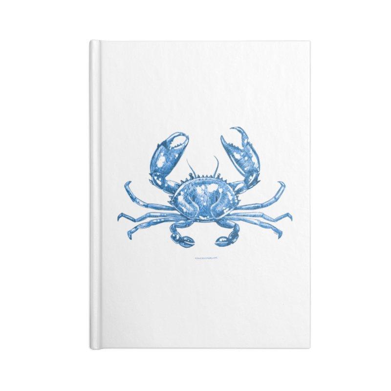 Blue Line Art Crab Accessories Notebook by Magichammer Art By Russ Fagle Shop