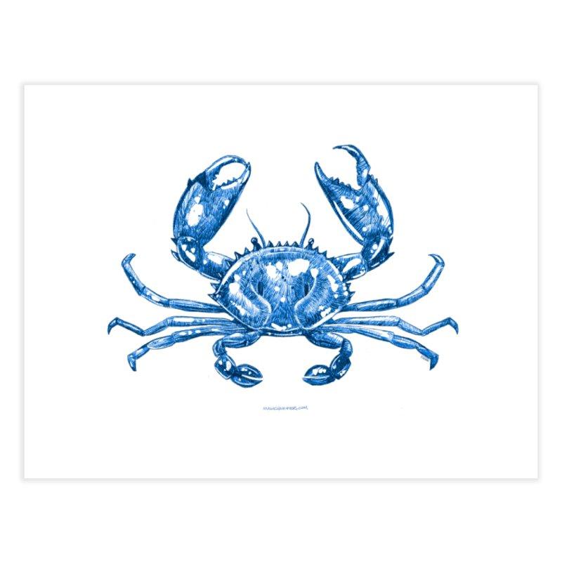 Blue Line Art Crab Home Fine Art Print by Magichammer Art By Russ Fagle Shop