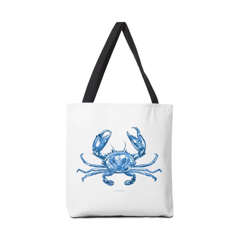 Blue Line Art Crab Accessories Bag by Magichammer Art By Russ Fagle Shop