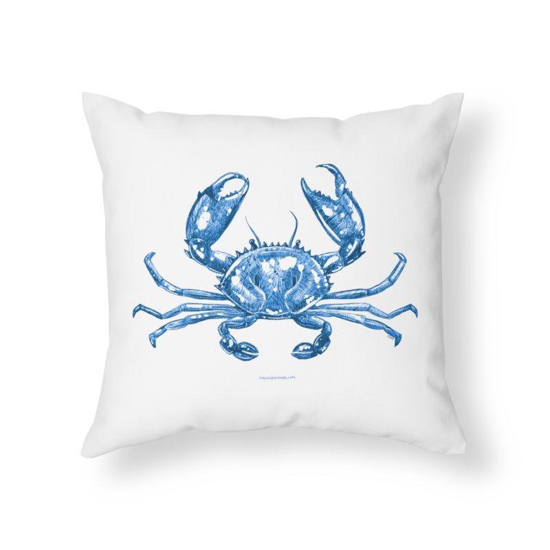 Blue Line Art Crab Home Throw Pillow by Magichammer Art By Russ Fagle Shop