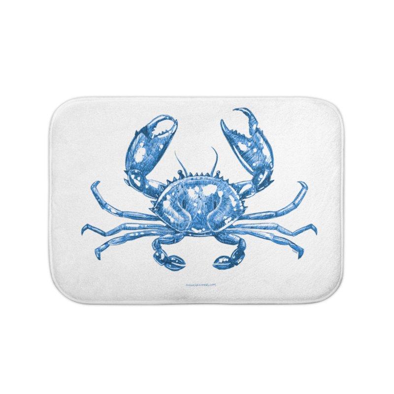 Blue Line Art Crab Home Bath Mat by Magichammer Art By Russ Fagle Shop
