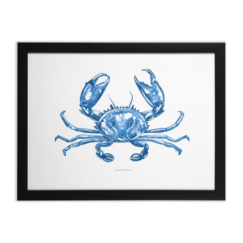 Blue Line Art Crab Home Framed Fine Art Print by Magichammer Art By Russ Fagle Shop