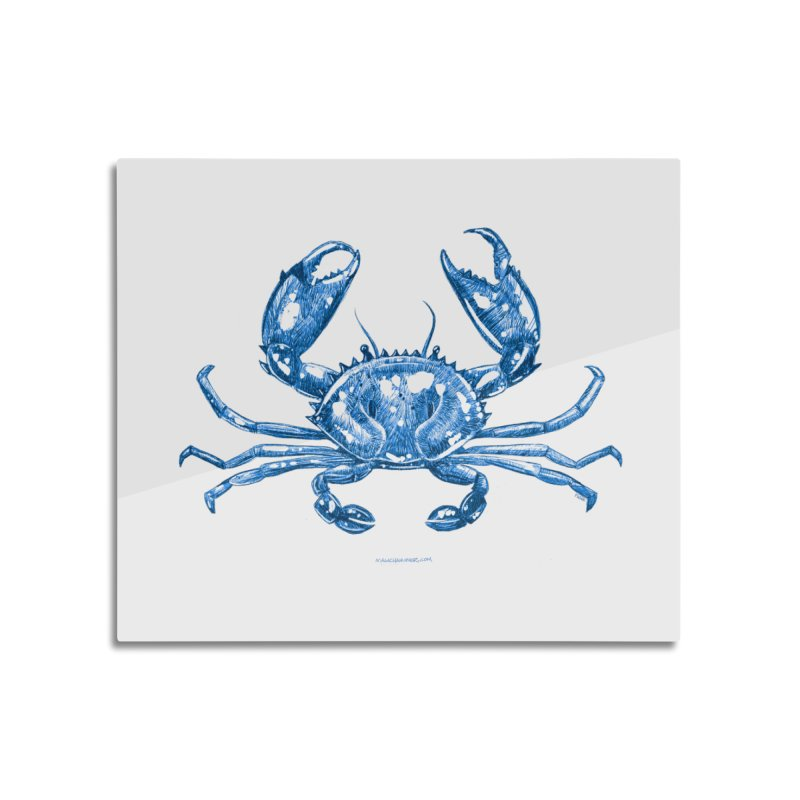 Blue Line Art Crab Home Mounted Acrylic Print by Magichammer Art By Russ Fagle Shop