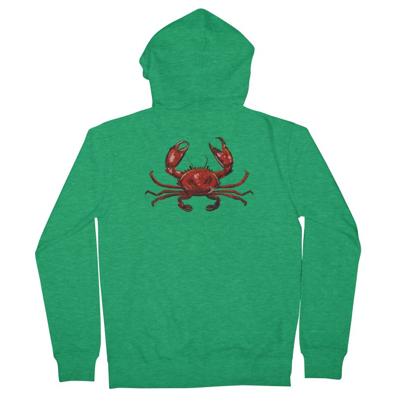 Red Crab Men's Zip-Up Hoody by Magichammer Art By Russ Fagle Shop