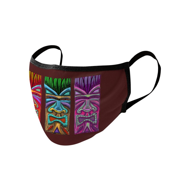 Three Tikis Accessories Face Mask by Magichammer Art By Russ Fagle Shop