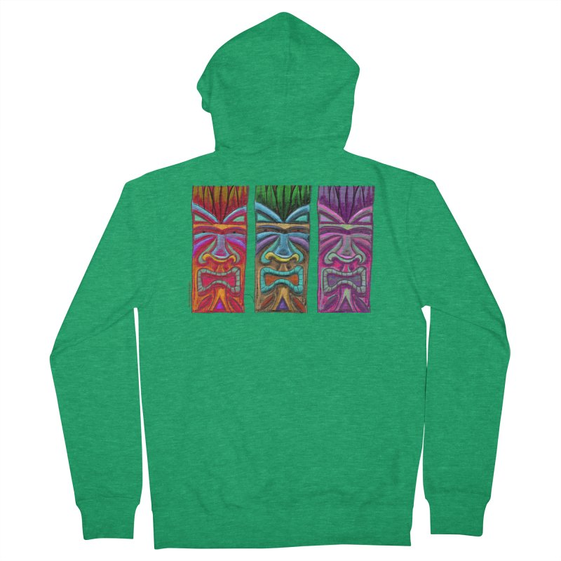 Three Tikis Men's Zip-Up Hoody by Magichammer Art By Russ Fagle Shop