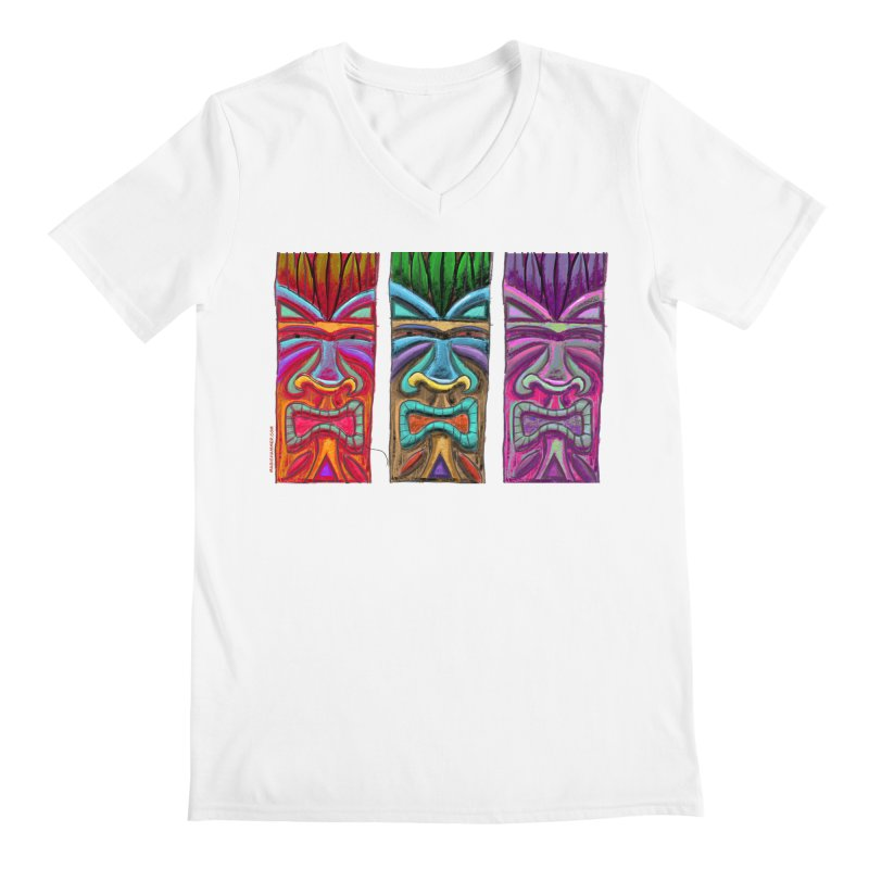 Three Tikis Men's V-Neck by Magichammer Art By Russ Fagle Shop