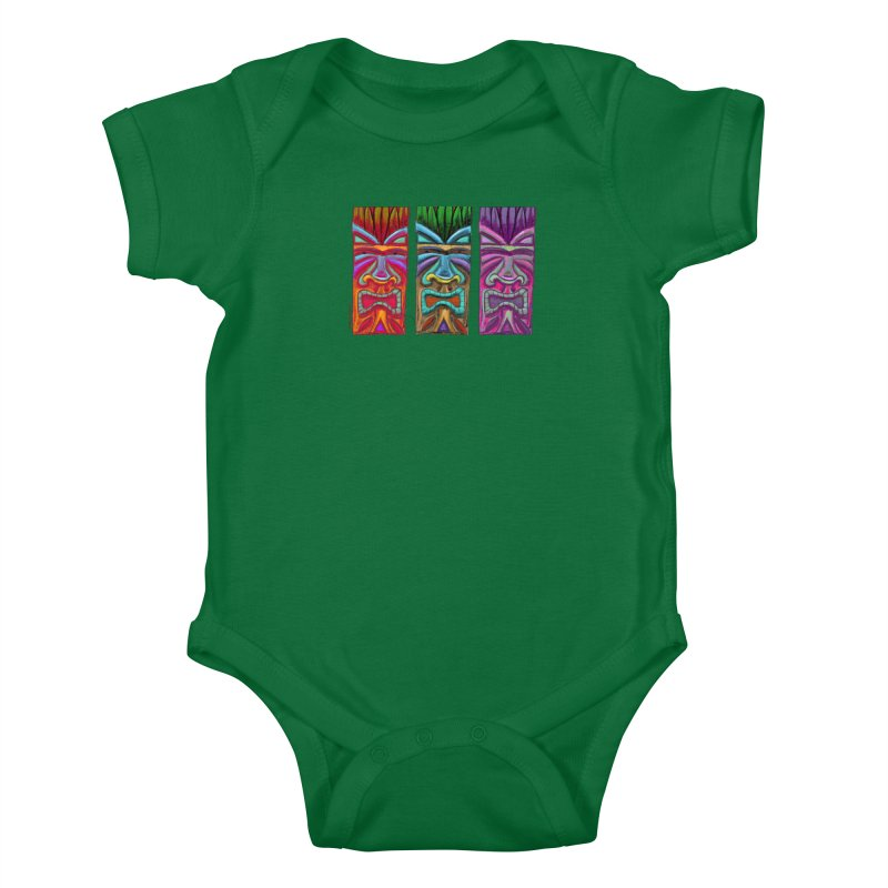 Three Tikis Kids Baby Bodysuit by Magichammer Art By Russ Fagle Shop